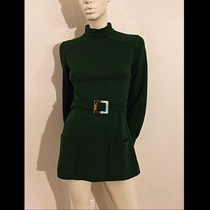 60s JACK WINTER Micro Mini Dress, Green Mini Dress